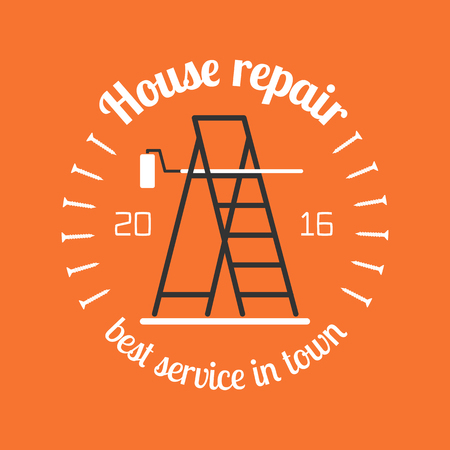 remodel: Home repair and remodel vector, icon, badge. House rebuilding concept