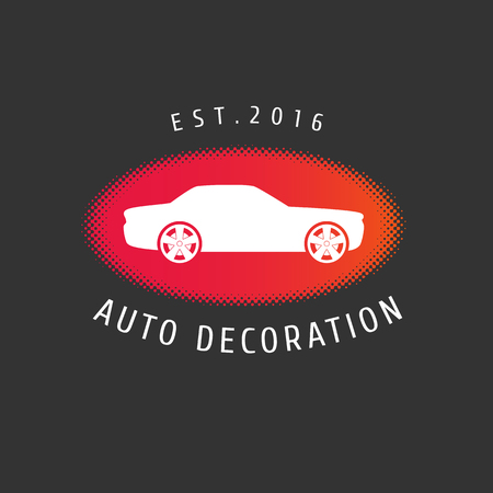 Auto decoration, car paint, spare parts vector template. Car airbrusing concept
