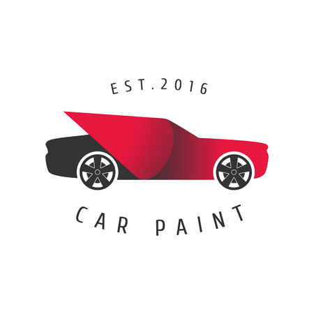 Car paint vector template, badge, icon. Car airbrushing concept Vetores