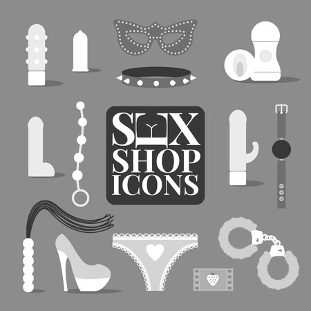 Sex shop products, icons, symbol vector illustration. Sex concept