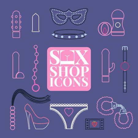 Icônes vectorielles sex shop, jeu de symboles. Élément de conception de jouets sexuels Banque d'images - 68774158