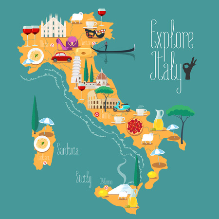Map of Italy vector illustration, design. Icons with Italian Colosseum, pizza, wine, cathedral. Sicilia and Sardinia islands. Explore Italy concept image