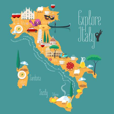 Mapa de Italia ilustración vectorial, diseño. Los iconos con Coliseo italiana, pizza, vino, catedral. Sicilia y Cerdeña islas. imagen del concepto Italia Explora Ilustración de vector