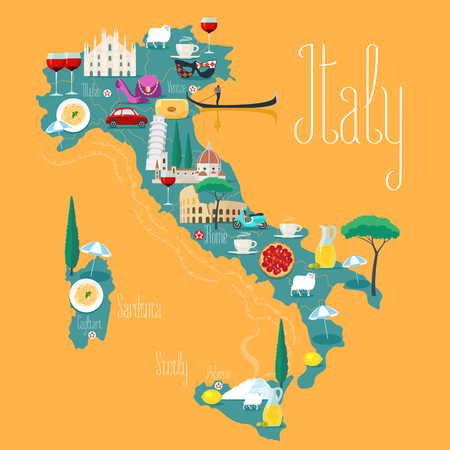 Map of Italy vector illustration, design. Icons with Italian Colosseum, pizza, wine, cathedral. Mediterranean Sicilia and Sardinia islands. Explore Italy concept image Ilustração