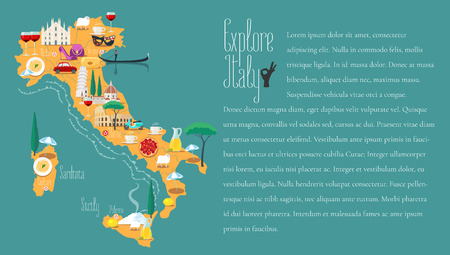 food wine: Map of Italy vector illustration, design. Icons with Italian Colosseum, Milan, Venice. Sicilia and Sardinia islands. Explore Italy concept image