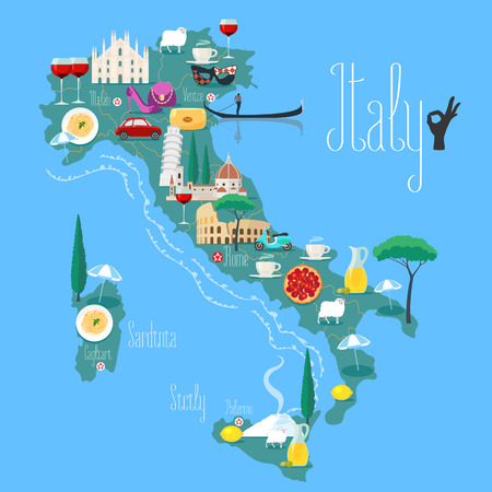 Map of Italy vector illustration, design. Icons with Italian Colosseum, pasta, gandola, cathedral. Sicilia and Sardinia islands. Explore Italy concept image