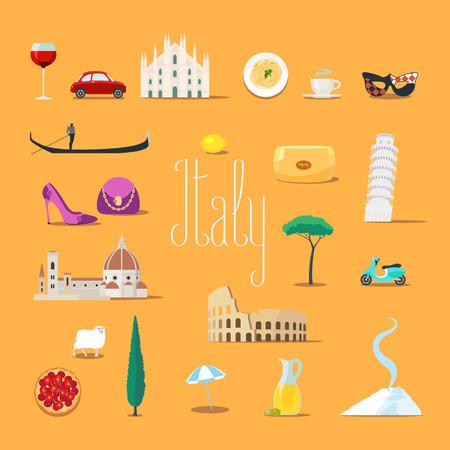 Travel to Italy vector icons set. Italian landmarks, cathedral, gandola, Rome Colosseum, etc