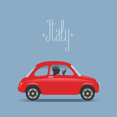 ok hand: Travel to Italy concept illustration. Small car and man with Italian ok hand sign. Fun cartoon style for visit Italy poster