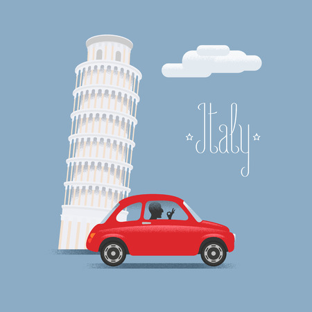 Travel to Italy vector illustration. Design element, icons with Italian Pisa tower and small car Illustration
