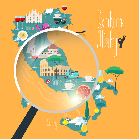 food wine: Map of Italy vector illustration, design. Icons with Italian Colosseum, pasta, gondola, cathedral. Sicilia and Sardinia islands. Explore Italy concept image