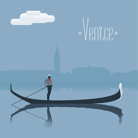 Venice, Venezia skyscrape view with gondolier vector illustration. Traditional taxi of Venice with gandola, boat man design