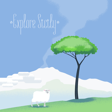 etna: Sicily view vector illustration, design element with Etna volcano, sheep, tree. Italy nonstandard image with Sicily landscape