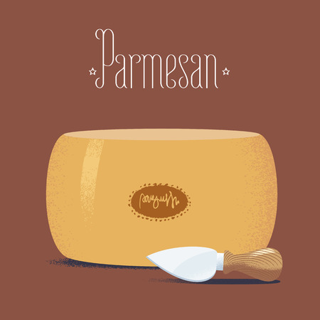 Italian parmesan cheese vector illustration. Design element for restaurant, farm, store with parmesan and knife