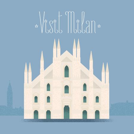 Milan, Milano cathedral vector illustration,design element background. Italian landmark