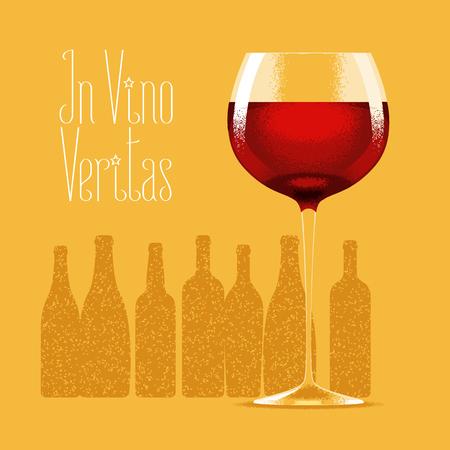 vino: Glass of red wine vector illustration. Design element with bottles of wine, drinks for menu, restaurant, flyer, poster. In vino veritas quote Illustration