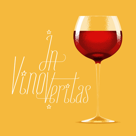 Glass of red wine vector illustration. Design element with wine, drink for menu, restaurant, flyer, poster, shirt. In vino veritas quotation Çizim