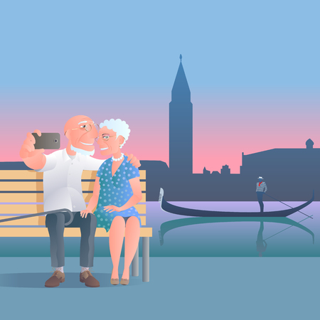 old people: Old people travel to Italy, Venice vector illustration. Selfie made by group of old people. Gondola man background Illustration