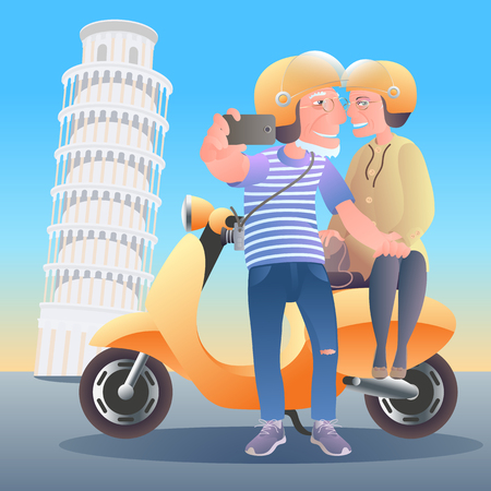 Old people travel ti Italy. Group of old people making selfie with Pisa tower, smiling and happy 向量圖像