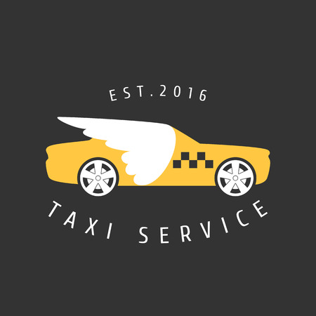 black cab: Taxi, cab vector logo, icon. Car hire black and yellow background, badge, app emblem. Taxi with wings design element