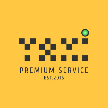 black cab: Taxi, cab vector logo, icon. Car hire black and yellow background, badge, app emblem. Word taxi made wth dots design element