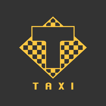 black cab: Taxi, cab vector logo, icon, design. Street car hire, taxicab black and yellow background, badge, app emblem Illustration