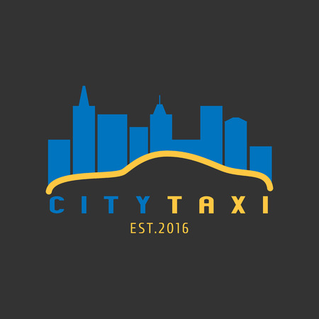 Taxi, cab vector logo, background. Car hire black and yellow background, badge, app emblem. City taxi design element Illustration