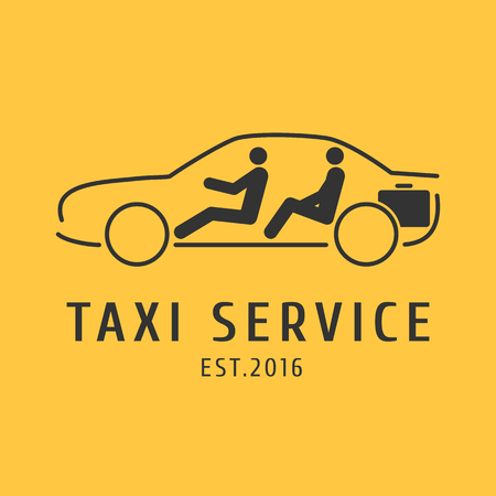Taxi, cab vector logo, design. Car hire black and yellow background, badge, app emblem. Driver and passenger in taxi graphic icon