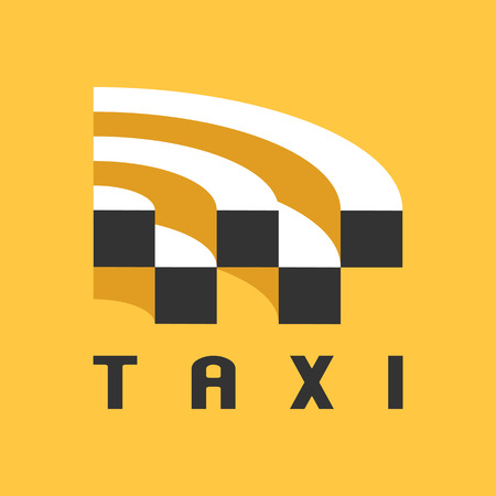 logo vector: Taxi, cab vector logo, design, icon. Car hire black and yellow background, badge, taxi app emblem