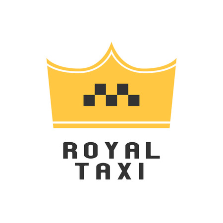 black cab: Taxi, cab vector logo, icon. Car hire black and yellow background, badge, app emblem. Taxi design element as crown Illustration