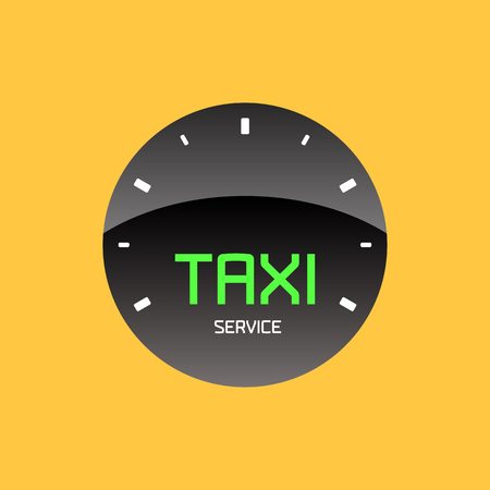black cab: Taxi, cab vector logo, design. Car hire black and yellow background, badge, app emblem, element. Taxi speedometer graphic icon