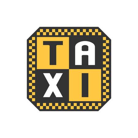 black cab: Taxi, cab vector logo. Car hire black and yellow background, badge, app emblem. Letters taxi graphic design element