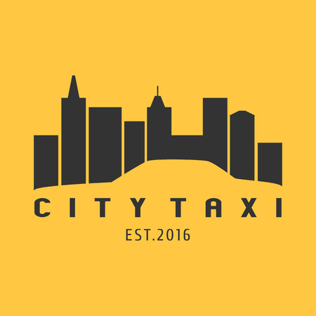yellow cab: Taxi, cab vector logo, icon. Car hire black and yellow background, badge, app emblem. City taxi design element