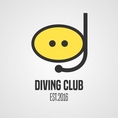 snorkeling: Diving and snorkeling vector icon symbol emblem, sign, design element. Diving mask illustration