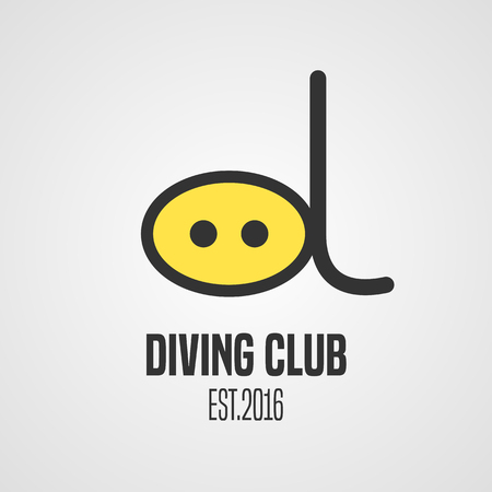 deep sea diver: Diving and snorkeling vector icon symbol emblem, sign, design element. Nautical scuba diving illustration