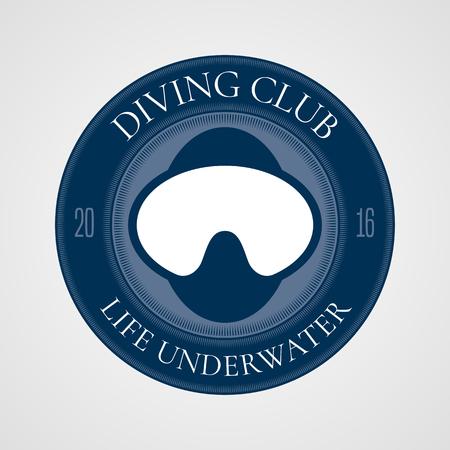 snorkeling: Diving and snorkeling vector icon symbol emblem sign, design element. Underwater travel concept illustration