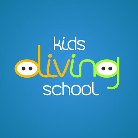 snorkeling: Kids diving and snorkeling vector icon symbol emblem, sign, design element. Summer diving illustration