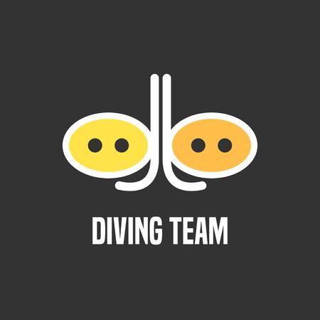 snorkeling: Diving and snorkeling vector icon, symbol, emblem, sign, design element. Underwater diving illustration