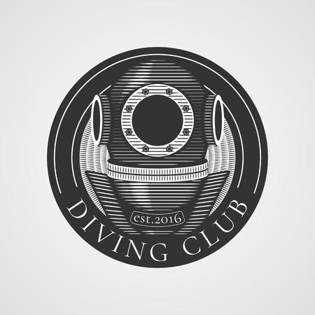 snorkeling: Diving and snorkeling vector icon, symbol, emblem, sign, design element. Retro, vintage diving suit illustration