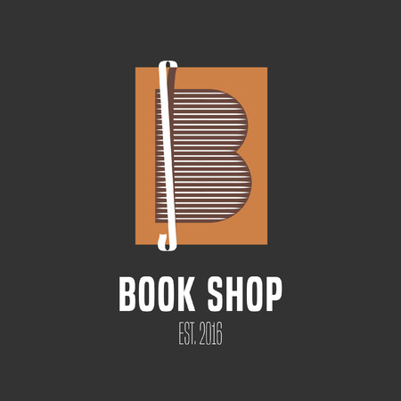 Bookstore, bookshop vector emblem sign symbol. Book graphic design element for book shop, store, learn and knowledge concept