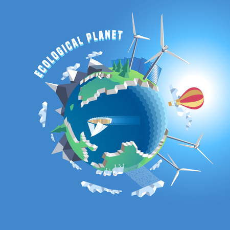 Little planet vector illustration. Eco world, 3d land. Isolated design elements - wind, solar power, green nature