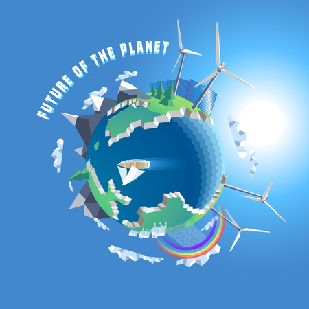 Little planet vector illustration. Eco world, 3d land. Isolated design elements - wind, solar power, tree, map, Earth Illustration