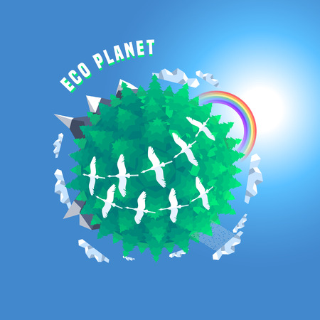 Little planet 3d vector illustration. Eco, natural design elements - isolated tree, birds, cloud, green forest