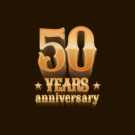 50 years anniversary: 50 years anniversary vector icon. 50th birthday design, sign in gold
