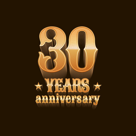 30th: 30 years anniversary vector icon. 30th birthday decoration design element, sign, emblem, symbol in gold Illustration
