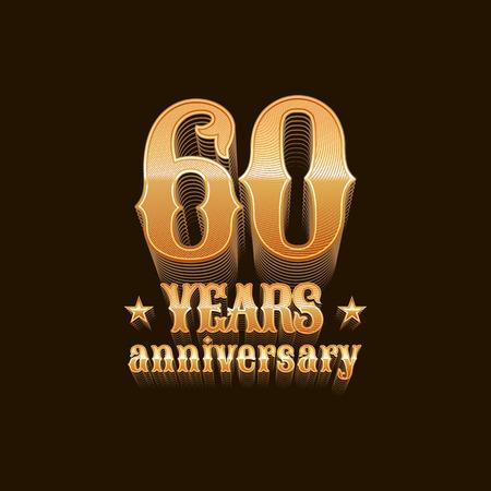 60 years anniversary vector icon. 60th birthday decoration design element, sign, emblem, symbol in gold Illustration