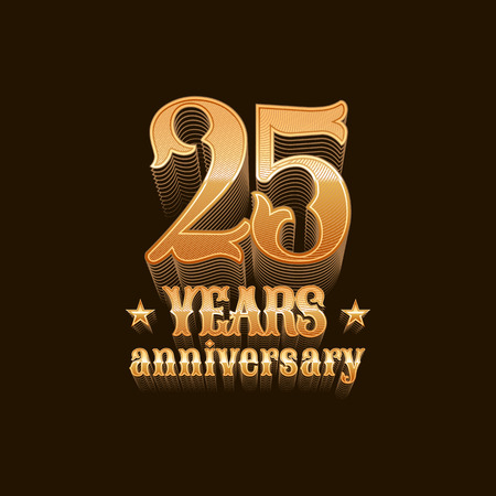 25th: 25 years anniversary vector icon. 25th birthday design, sign in gold