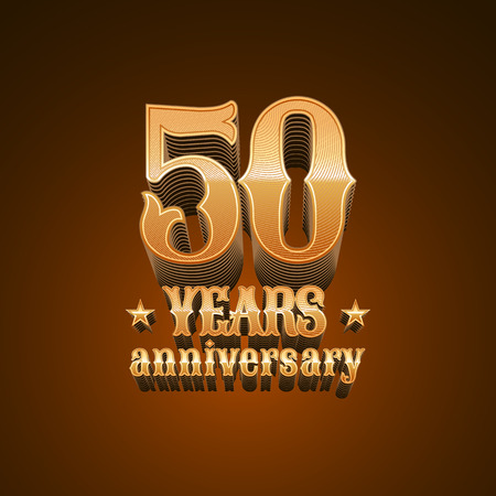 50 years anniversary vector icon. 50th birthday design, sign in gold