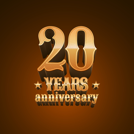 20 years anniversary vector icon. 20th birthday decoration design element, sign, emblem, symbol in gold