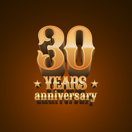 30th: 30 years anniversary vector icon. 30th birthday design, sign in gold