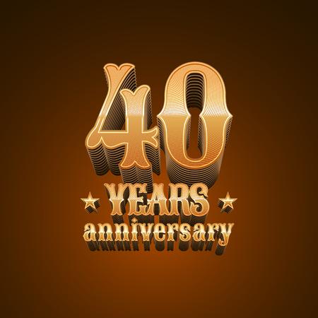 40 Years Anniversary Vector Icon Set 40th Celebration Design